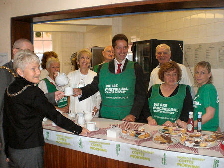 Jonathan Djanogly supporting the MacMillan Cancer Support coffee morning at Huntingdon's Commemoration Hall.