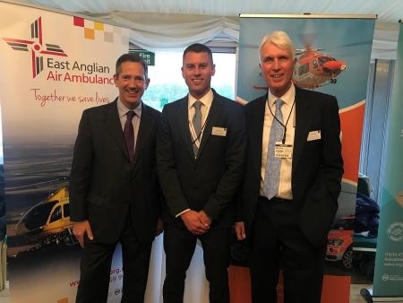 Jonathan with representatives of Magpas Air Ambulance and the East Anglian Air Ambulance