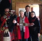 Jonathan Djanogly marching in the haggis with piper Roy at the Alconbury Thursday lunch club.