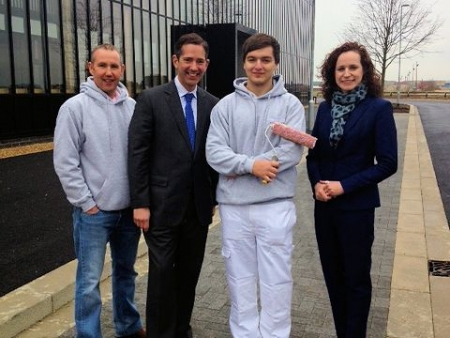 Jonathan Djanogly meeting new apprentice Ryan with Scott Spence and Rebecca Britton at Alconbury Weald