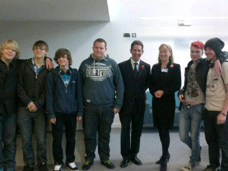 Jonathan Djanogly with Susanne Stent and students from Huntingdonshire Regional College