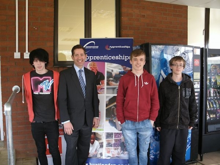 Jonathan Djanogly meets with apprentices at Huntingdonshire Regional College's new training centre at Alconbury Weald.
