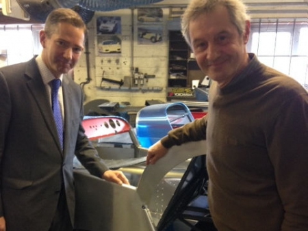 Jonathan taking part in a visit to Huntingdon business Arch Motor & Manufacturing with owner Bruce Robinson.