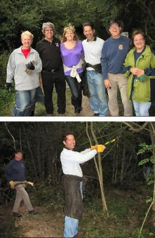 With woodsman George Cottam of the Wildlife Trust and members of Hinchingbrooke Rotary Club
