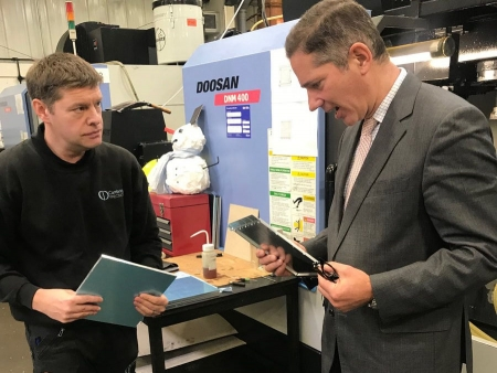 Jonathan meeting with Nick Raven, Operations Director of Cambridge Precision Ltd