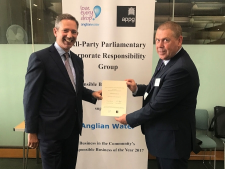 Jonathan supporting local company Cambridge Precision at the National Responsible Business Champions reception 2019
