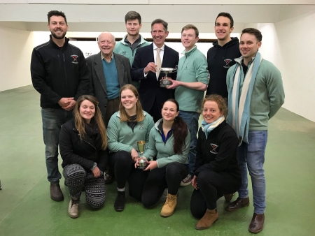 Jonathan Djanogly MP Cambridge University with their trophy for winning the Cambridge v Oxford shooting competition