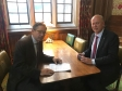 Jonathan Djanogly with Secretary of State for Transport, Chris Grayling discussing the GTR service