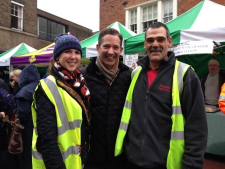 Jonathan Djanogly at Huntingdon's Christmas lights switch on event with Natasha and Roy from Huntingdon Town Council.