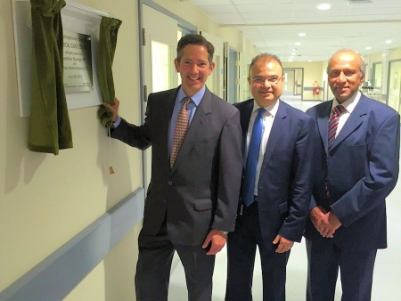 Jonathan officially opening Hinchingbrooke Hospital's new state of the art Critical Care Unit with hospital CEO Hisham Abdel-Rah