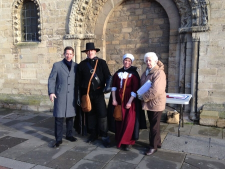 Jonathan Djanogly with supporters of the Cromwell Museum collecting signatures for the petition to save the museum on Saturday 1