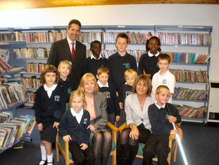 Jonathan Djanogly with Headteachers Julia Elliott and Deborah James at Crosshall Infant and Junior Schools