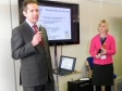 Jonathan Djanogly MP officially opening the new offices of Crossroads Cambridgeshire with Chief Executive Dr Helen Brown