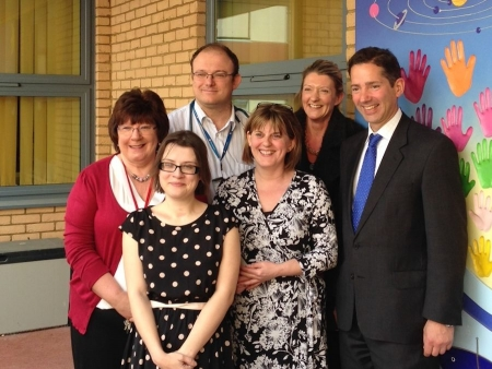 Jonathan Djanogly meeting the cystic fibrosis team at Hinchingbrooke Hospital along with patients and family members.