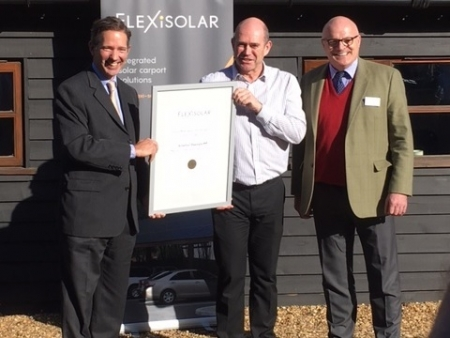 Jonathan officially opening local solar technology company Flexisolar's new offices in Fenstanton.