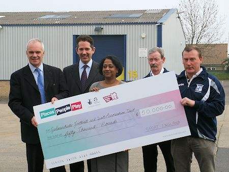 Jonathan congratulates Godmanchester Football and Sports Association trust on their Olympic legacy funding grant