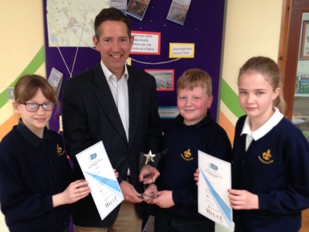Jonathan presenting Modeshift awards to pupils of Godmanchester Community Primary School