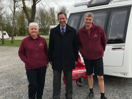 Jonathan visiting Grafham's Caravan and Motorhome Club site to support local tourism during English Tourism Week 2019
