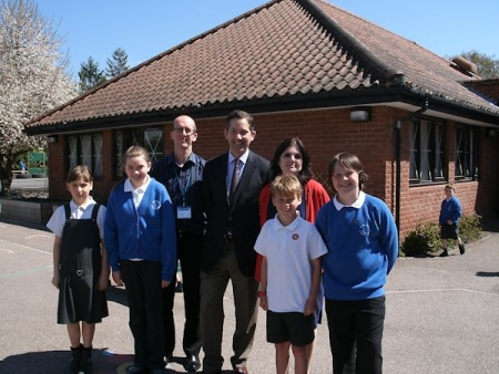 Jonathan Djanogly meeting with the Headteacher - Mrs Smith, Parent Governor - Mr Santus and members of Barnabas Oley C of E Scho