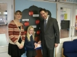 Jonathan visits Hartford Junior School to present a book voucher to the winner of his Christmas Card competition