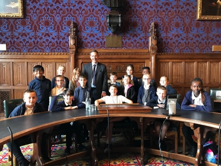 Jonathan welcoming Hartford Primary School to the House of Commons for a tour of Parliament.