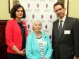 Jonathan Djanogly MP with HMDT Chief Exec Olivia Marks-Woldman, Holocaust survivor Kitty Hart-Moxon