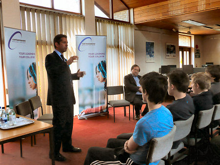 Jonathan Djanogly addressing students and teachers at the recent hustings at the Regional College.