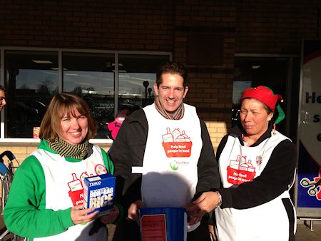 With staff at the Huntingdon Tesco Store taking part in their national food collection campaign