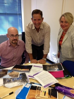 Jonathan Djanogly judging the Hunts Post's photograph competition with Editor Andy Veale and local businesswoman Maxine Lester.