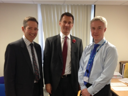 Jonathan Djanogly, Jeremy Hunt and Lance McCarthy, Chief Executive of Hinchingbrooke Hospital