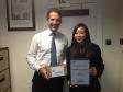 Jonathan Djanogly congratulates Jessica Tang member of Kimbolton School's winning Young Enterprise team