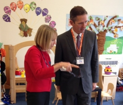Jonathan with the Head of Huntingdon Nursery School, Kay Dimelow.