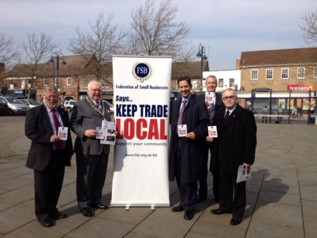 Jonathan Djanogly supporting the Federation of Small Businesses' 'Keep Trade Local' campaign in St Neots.