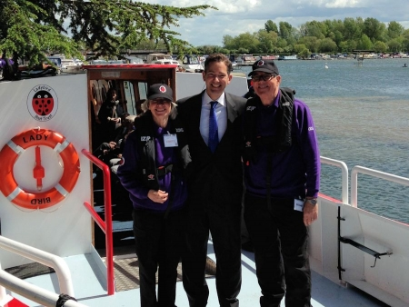 Jonathan Djanogly taking a trip on 'The Ladybird' at Hartford Marina to support and promote the Ladybird Trust.