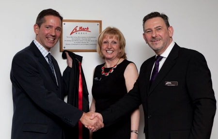 Jonathan Djanogly officially opening local business Le Mark's new expanded offices and warehousing.