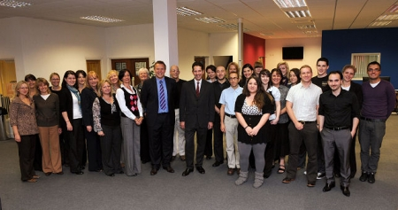 Jonathan Djanogly opens the new call centre of St Neots based business, Life Plus Europe