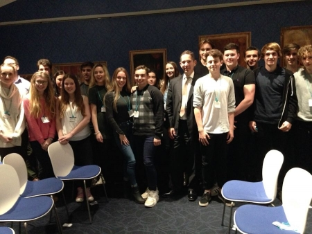 Jonathan Djanogly welcoming Longsands Academy law students to the House of Commons.