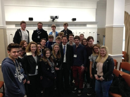 Jonathan Djanogly meeting a delegation of sixth form students from Longsands at the House of Commons.