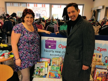Jonathan pictured with Kelly supporting the Maple Centre Community Shop in Oxmoor, Huntingdon.