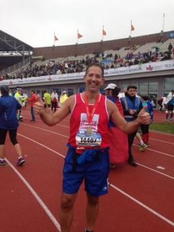 Jonathan completing the Amsterdam marathon