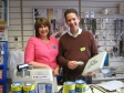 Jonathan with Store Manager, Julie Syrzypczak, at the Marie Curie Cancer Shop in Huntingdon as part of Make a Difference day