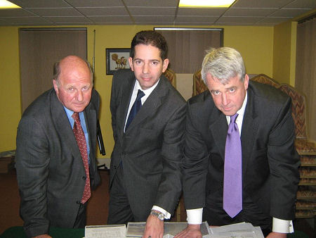 MPs Andrew Lansley, James Paice and Jonathan Djanogly discussing the delays to the A14 scheme.