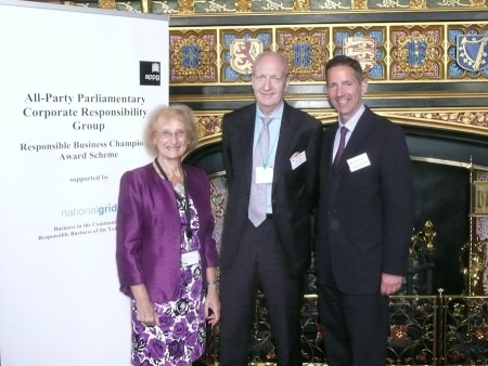 Baroness Greengross and Jonathan Djanogly MP (right) with Nigel Hugill of Urban & Civic (centre)