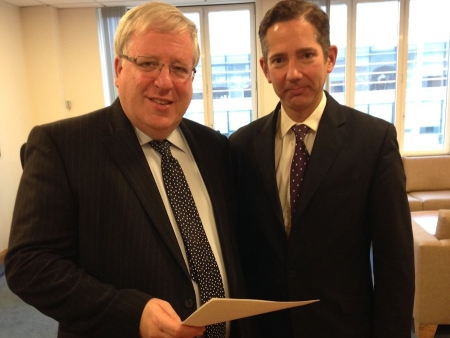 Jonathan Djanogly meets with The Rt Hon Patrick McLoughlin MP to discuss improvements to the A428/A421.