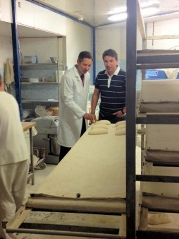 Jonathan preparing Polish rye bread with Marcin Laskowski, the owner of Eunice bakery in Stukeley Road, Huntingdon.