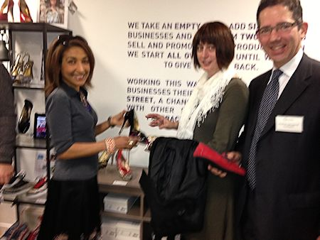 Jonathan Djanogly attends DCLG Pop-up Shops event with Alexandra Van Berckel and Maria Needham