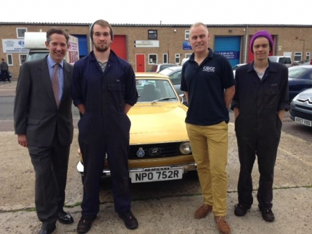 Jonathan meeting Ian and his team at their new business, Quest Brothers Classic Cars in St Ives