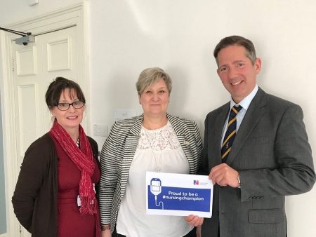 Jonathan meeting Natasha Emery and Royal College of Nursing Regional Officer Kathryn Hardaker