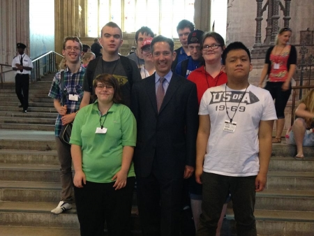 Jonathan Djanogly welcoming a group of students from Samuel Pepys School, St Neots to Parliament