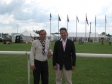 With County Commissioner Richard Hames visiting the international scout camp, CamJam, at Huntingdon Racecourse